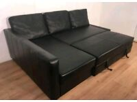 Beautiful Black Leather Corner Sofa bed. Only £340 *Free Delivery & Free Assembly*