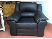 As New Black Leather Armchair **FREE LOCAL DELIVERY** (sofa brown corner dfs harveys contemporary)