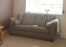 Two seater, brown, scatter back sofa - good condition