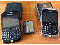 Two used Blackberry phones on Orange with cases and one battery