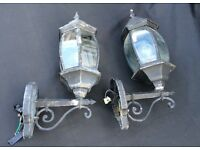 OUTDOOR COACH LIGHTS, PAIR, CAST ALUMINIUM LAMPS, VINTAGE STYLE