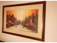 Large Framed Picture, Folland Print In Original Frame, Retro 60's.