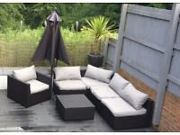 Ratten Garden Sofa, Chair and foot stool/table