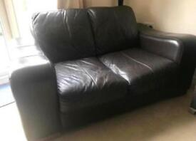 Leather sofa 2 seat (black)