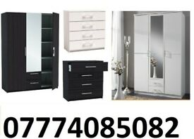 3 DOOR MIRRORS WARDROBE with 2 draw matching 4 CHEST DRAWER BLACK AND WHITE