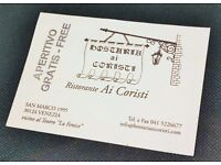 Venice Italian Restaurant Cafe discount coupon voucher certificate - free drink, worth £5