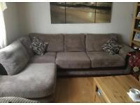 Corner sofa, swivel chair and footstool