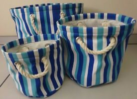 Wilkins Set of 3 Striped Canvas Storage Bags- NEW