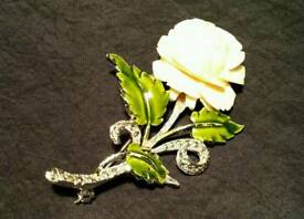 Marquisite and ivory rose brooch