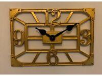 Newgate Marylebone Large Wall Clock Antique Gold RRP £80 BNIB