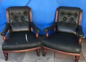 Excellent Quality Victorian Walnut Chairs For Reupholstery Project