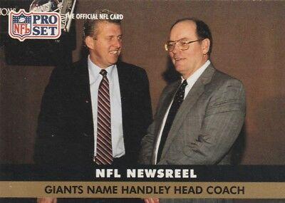 FREE SHIPPING-MINT-1991 Pro Set Football Cd #685 Handley NAMED GIANTS HEAD COACH
