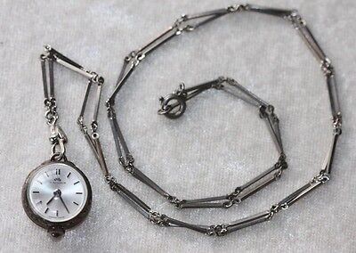 Bucherer Swiss WATCH Sterling BALL Bubble Pendant Necklace Ladies Skeleton N178