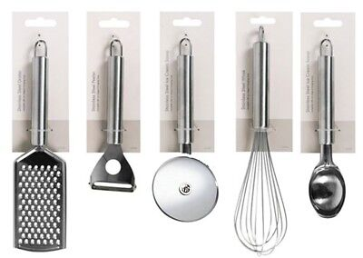 5 Piece Stainless Steel Kitchen Gadget Utensil Set - Whisk Peeler Grater Pizza C