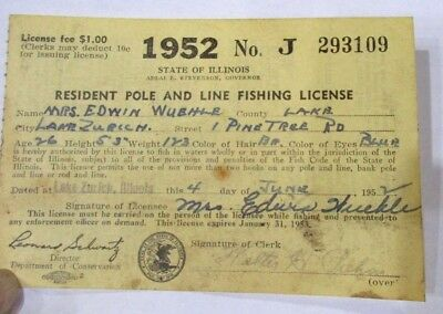 1952 Illinois Resident Pole & Line Fishing License >