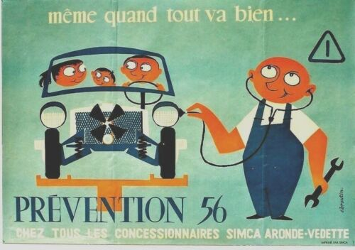 Original vintage poster SIMCA FRENCH AUTOMOBILE SERVICE 1956