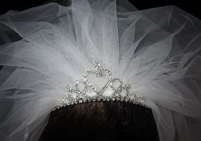 FIRST HOLY COMMUNION RHINESTONE TIARA BAND Two Tier ribbon edged Veil White ](First Holy Communion Tiaras)