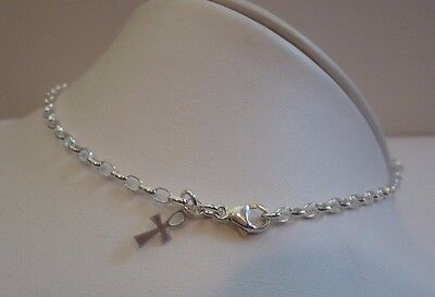 FINE LADIES ANKLET 925 STERLING SILVER W/ CROSS CHARM/ LOBSTER LOCK/ CHAIN 2.6MM
