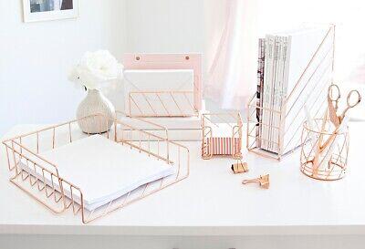 Blu Monaco Rose Gold Desk Organizer - 5 Piece Set