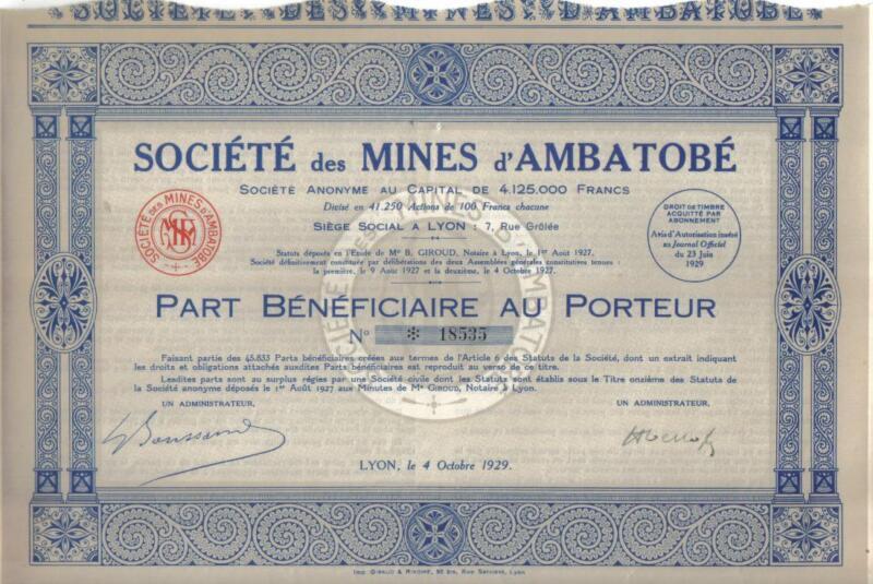 Original Africa France Madagascar 1929 Mines Ambatobe share Uncancelled coupons