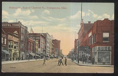 Postcard Youngstown Ohio East Federal Street Hotel York  1907