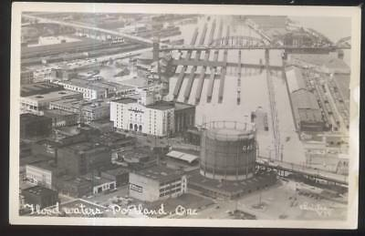 REAL PHOTO Postcard PORTLAND Oregon/OR 1930's Commercial Area Flood Aerial view