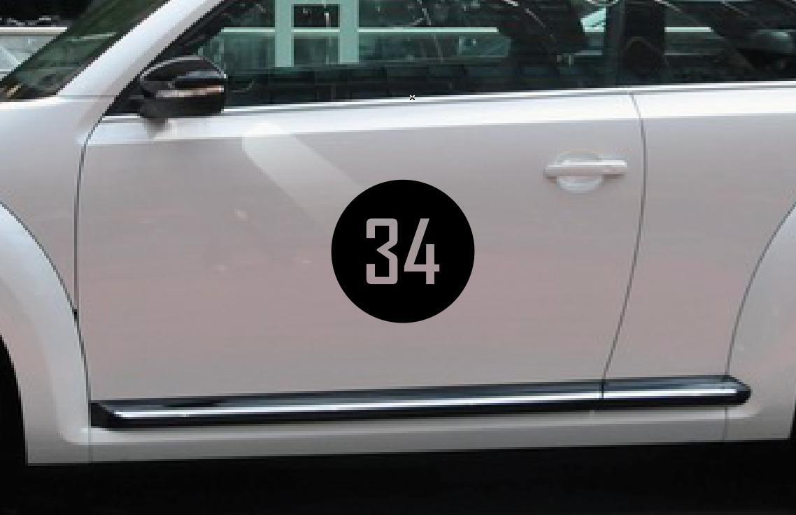 Number side car door roof bumper Classic Circle Rally Racing Sticker Vinyl Decal