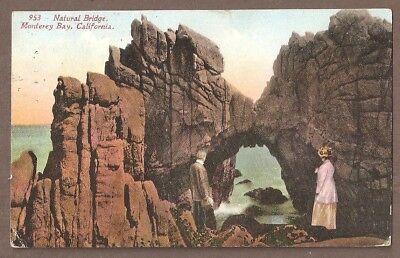 Vintage Postcard Used Natural Bridge  Monterey Bay California