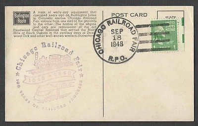 1948 #805 PPC* 1c PREXY W/ELECTRIC EYE SELVAGE ON BURLINGTON RR CARD SEE INFO