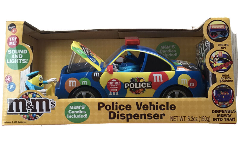 Brand New In Box***M&M's Police Car Vehical Dispenser**with Sounds And Lights