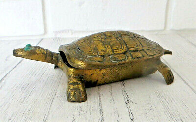 Antique Solid Brass Turtle Trinket Box with Green Eyes & Hinged Lid Ash Tray