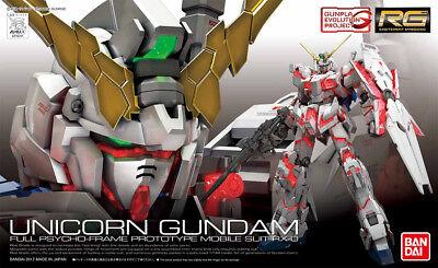 Gundam 1/144 RG #25 Unicorn Gundam RX-0 Full Psycho Frame Model Kit Bandai US