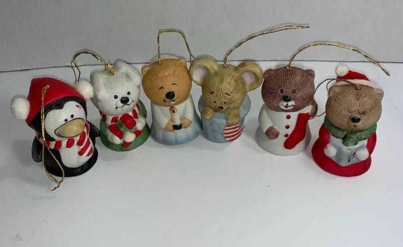 Vintage Christmas Ornament Bells Set Lil Chimers Porcelain JASCO Animals
