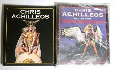 ESZ8799. Lot of 2: CHRIS ACHILLEOS Fantasy Art Trading Card ALBUMS Series 1 & 2