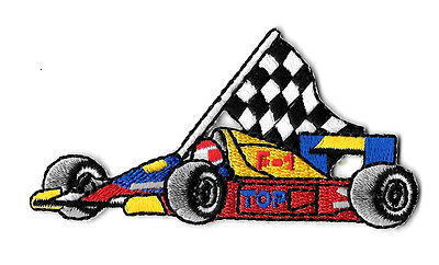 Racing - Race Car - Checkered Flag - Sports - Embroidered Iron On Patch  ()