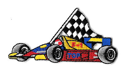 Racing - Race Car - Checkered Flag - Sports - Embroidered Iron On Patch
