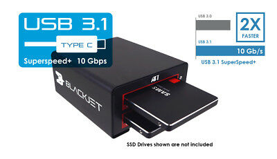 BLACKJET DUAL SSD USB 3.1 Gen 2 Dock - 10Gbps- 4K ultra HD