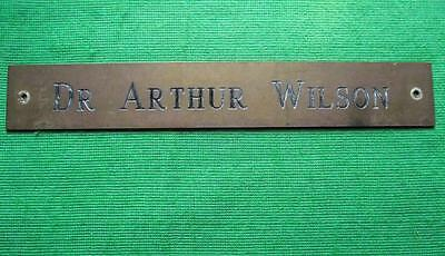 Old Brass Vintage Sign Plaque Doctor Arthur Wilson Surgeon Physician 12