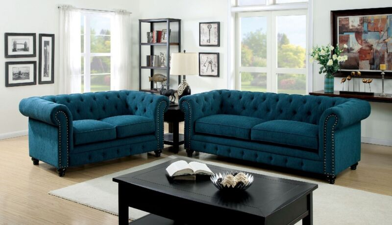 Living Room 2 Pc Sofa & Loveseat Nailed Trimmed Dark Teal Color Sofa Set