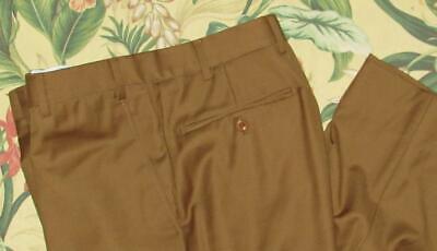 INCOTEX Caramel Brown Wool Flat Front Pants 34 x 27