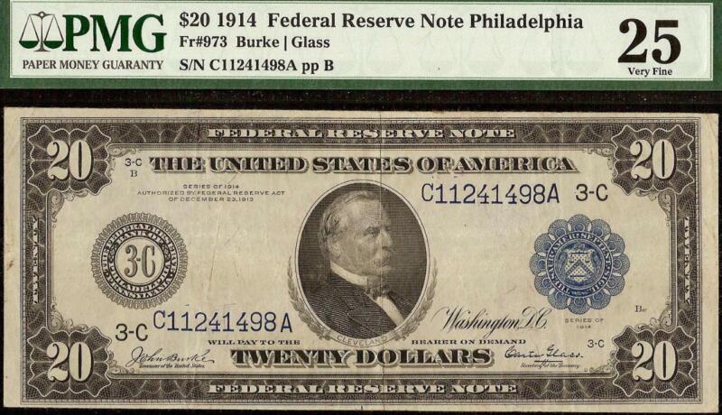 LARGE 1914 $20 DOLLAR KEY PHILADELPHIA FEDERAL RESERVE NOTE MONEY Fr 973 PMG 25