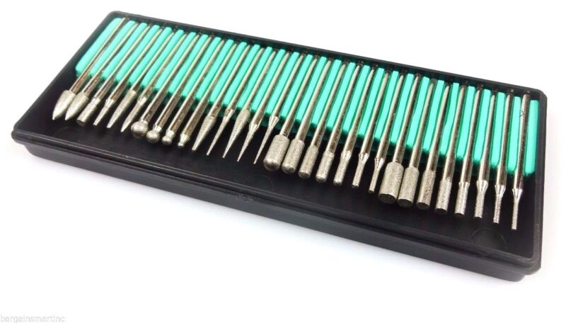 NEW 30pc 600 grit Diamond Burr Bit Set for Rotary Tool Glass Tile Ceramic