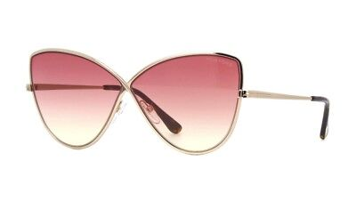Tom Ford ELISE-02 FT 0569 shiny rose gold/burgundy shaded (28T A) Sunglasses