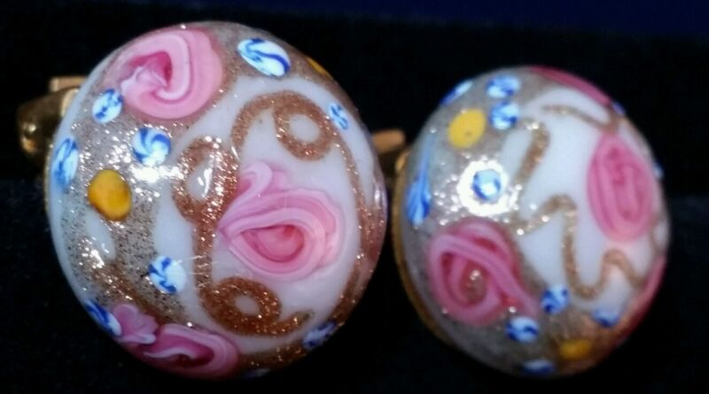 Vintage Venetian Glass Wedding Cake Clip On Earrings Italy Aventurine Pink Roses
