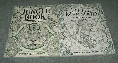 The Little Mermaid Adult (2 adult coloring books THE LITTLE MERMAID & THE JUNGLE BOOK both untouched)