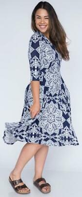 Agnes & Dora Curie Dress Day Date on Navy Blue White Pockets S Fit Flare