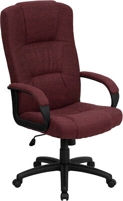 High Back Burgundy Fabric Executive Office Desk Chair Warms Adjustable Height