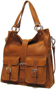 Italian-Leather-Handbag-Purse-Hobo-Tote-5590-TAN