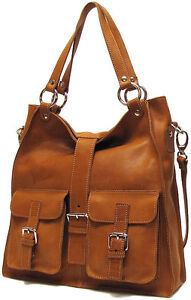 Italian Leather Handbag Purse Hobo Tote (5590 TAN)
