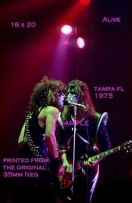 Kiss 1975 Paul Stanley & Ace Frehley 16 X 20 Color Photo Tampa,FL